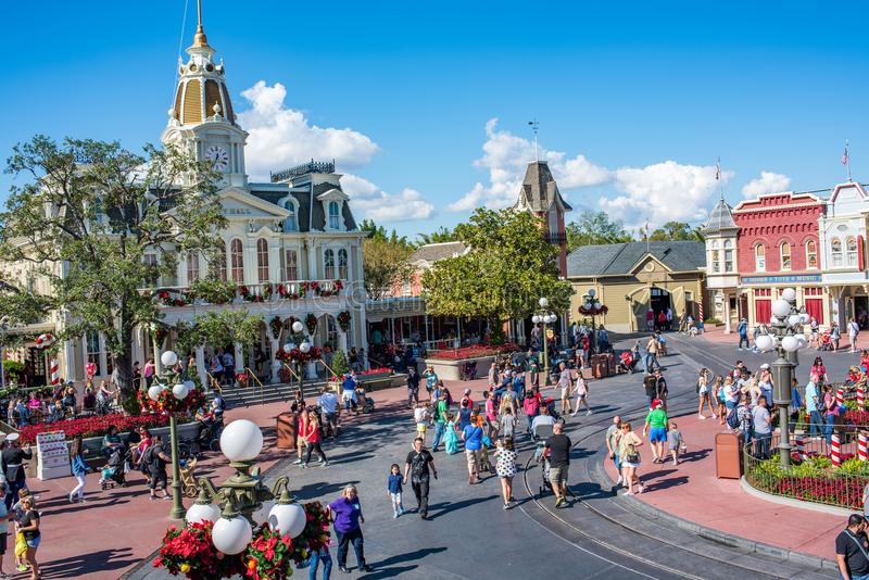Main Street USA at The Magic Kingdom, Walt Disney World. Orlando, Florida: December 2, 2017: Main Street USA at The Magic Kingdom, Walt Disney World. In 2016 stock images
