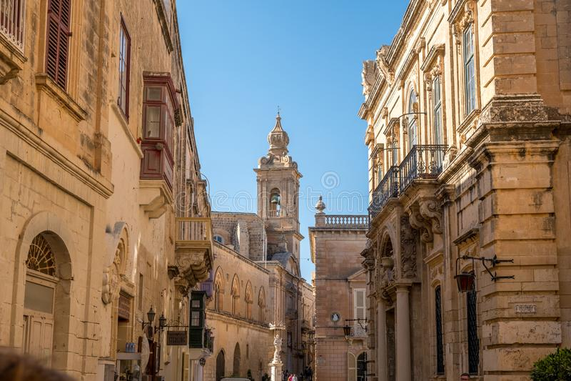 Main Street van Mdina, Malta, mediterraan Europa, stock afbeeldingen