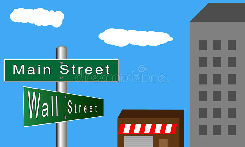 Main Street versus Wall Street vector illustration