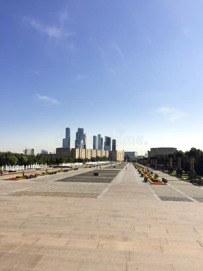 Main street at War memorial in Victory Park on Poklonnaya Hill, Moscow, Russia royalty free stock photo