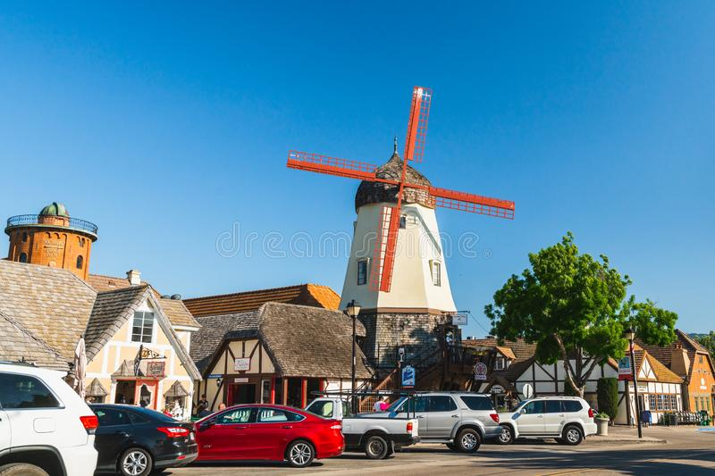 Main Street and Windmill in Solvang, a City in Southern California`s Santa Ynez Valley. The City Has Known for its Traditional Dan royalty free stock photography