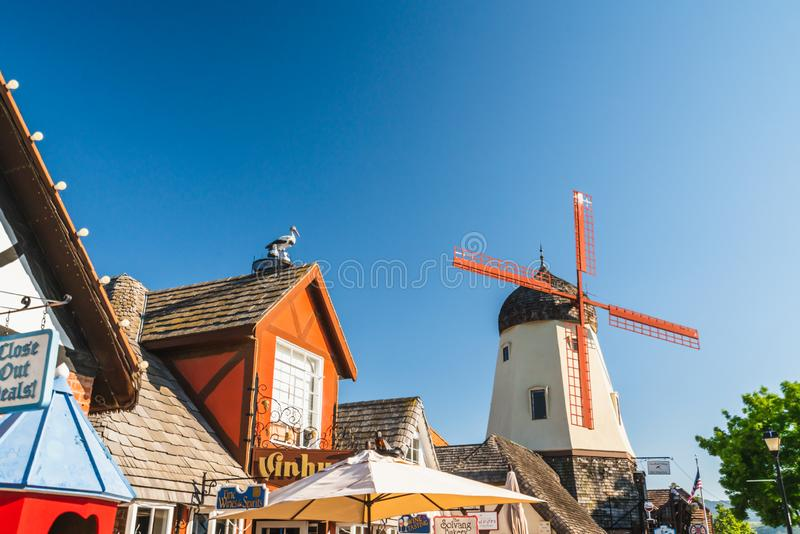 Main Street and Windmill in Solvang, a City in Southern California`s Santa Ynez Valley. The City Has Known for its Traditional Dan royalty free stock photos