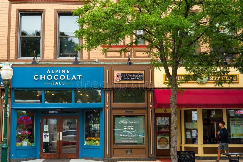 Main Street -winkels stock foto