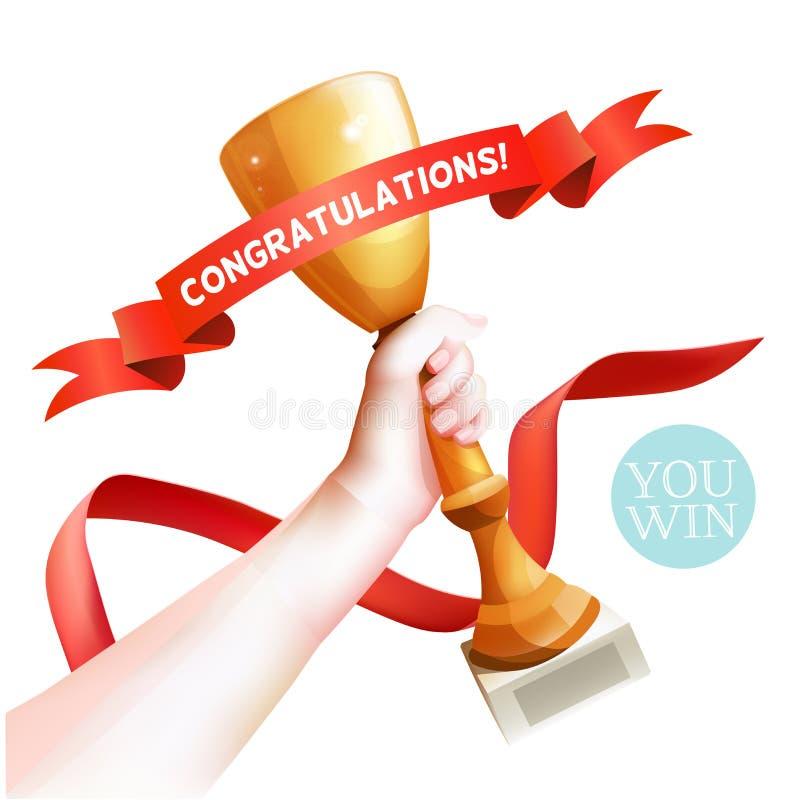 Main supportant le trophée Illustration de tasse de gagnant de vecteur avec le ruban rouge avec des félicitations Fond blanc illustration stock