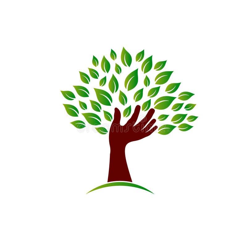 Main sur l'image de conscience d'écologie illustration stock
