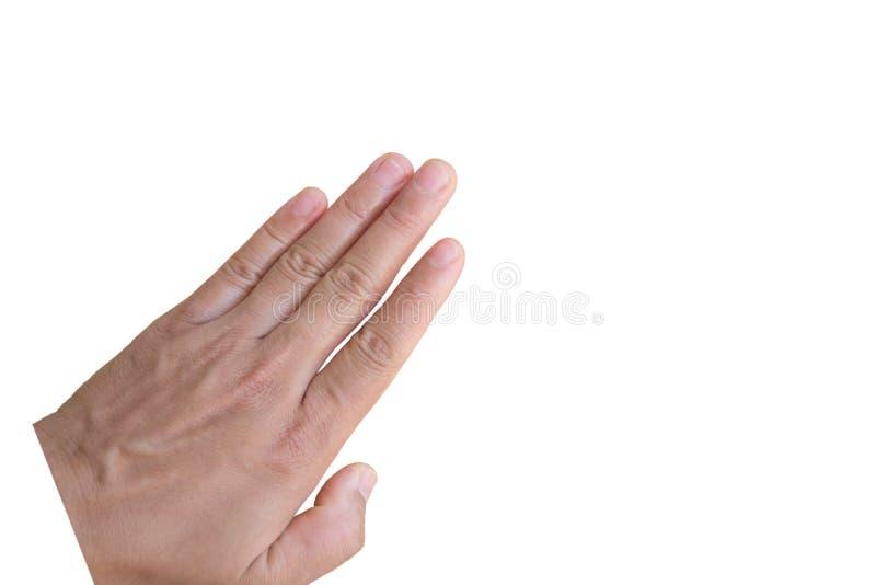 Main sur le fond blanc Avec le chemin de coupure photos stock