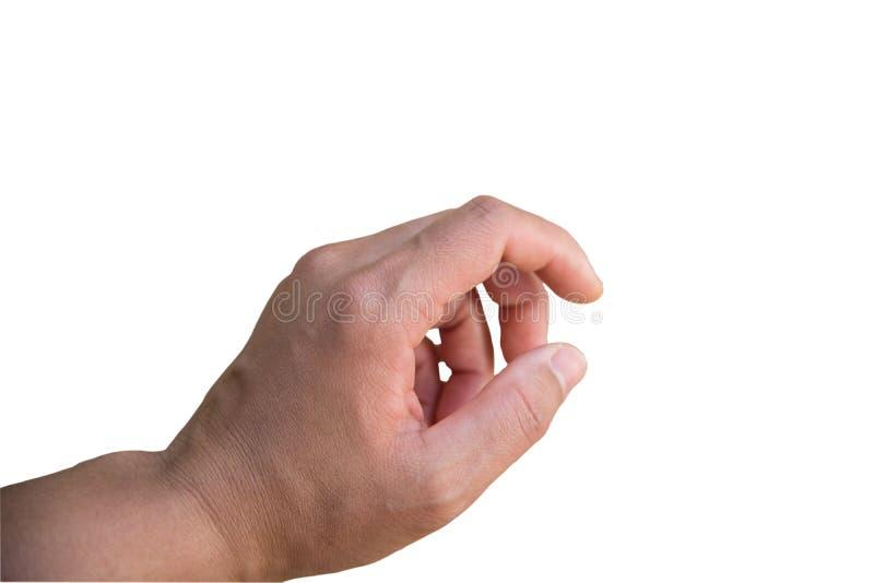 Main sur le fond blanc Avec le chemin de coupure images libres de droits