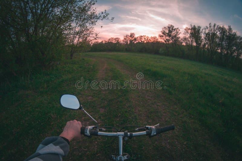 Main sur les guidons le soir photographie stock libre de droits