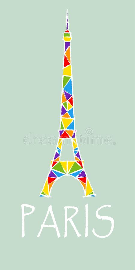 Eiffel Tower in rainbow colors royalty free illustration