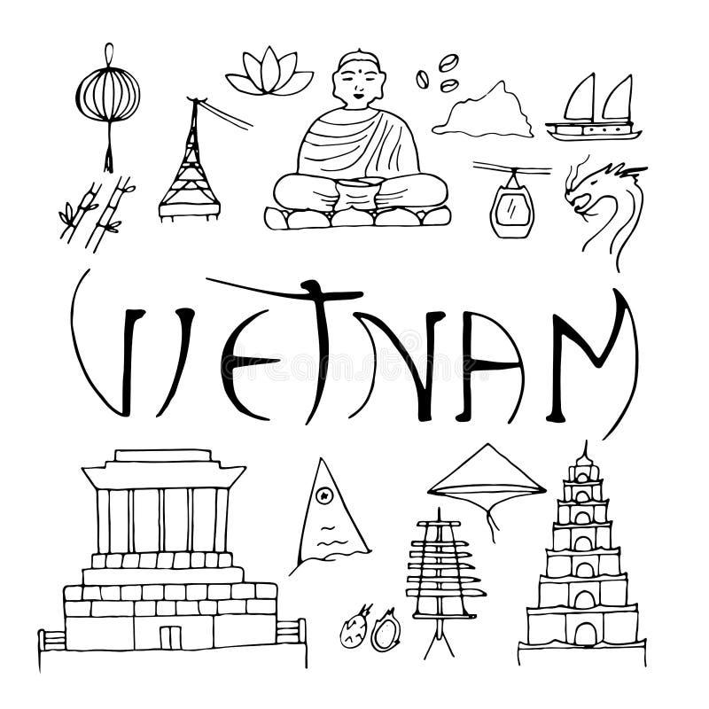 Main Symbols Of Vietnam Isolated On White Background Stock