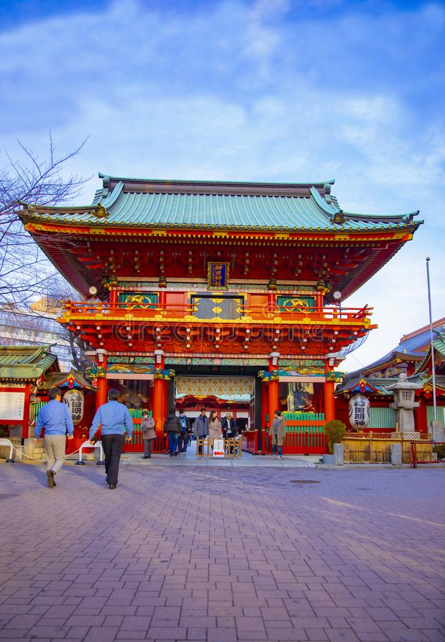 Main temple at Kanda shrine in Tokyo stock images