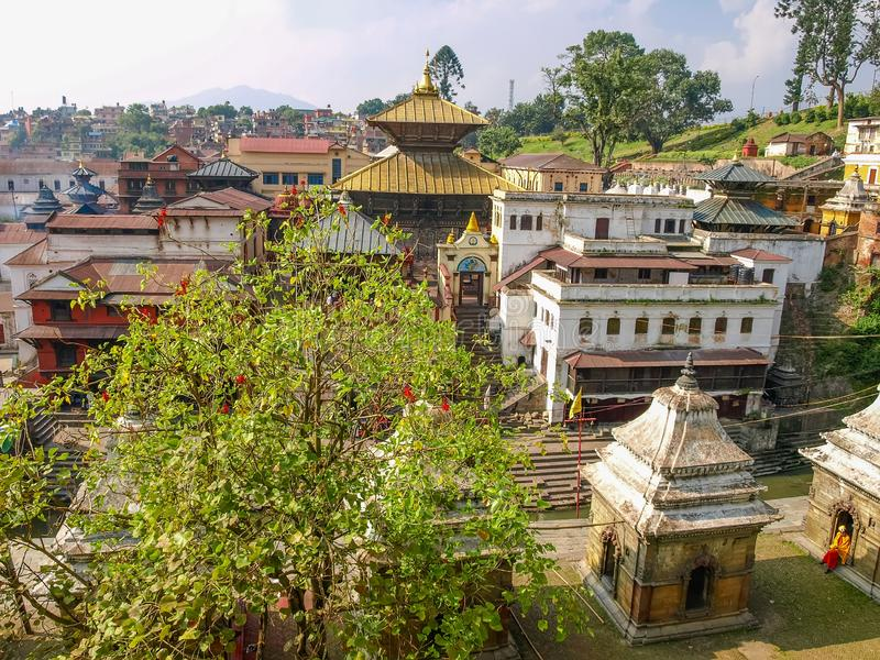 Main temple of the Pashupatinath temple complex, Kathmandu, Nepal royalty free stock images