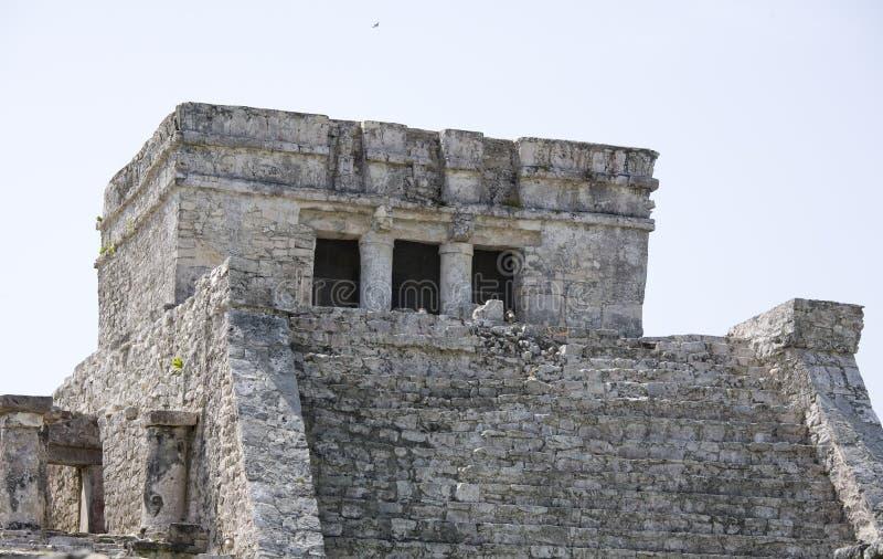 Main temple at Tulum. On Riviera Maya coast stock photos