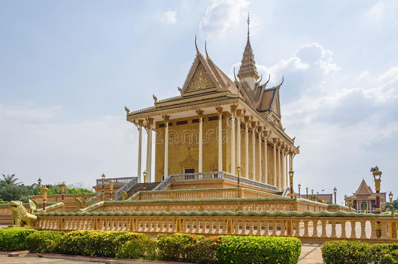 Main temple in the Vipassana Dhura Buddhist Meditation Center in. Main temple in the Vipassana Dhura Buddhist Meditation Center with the Cambodian five-headed royalty free stock images