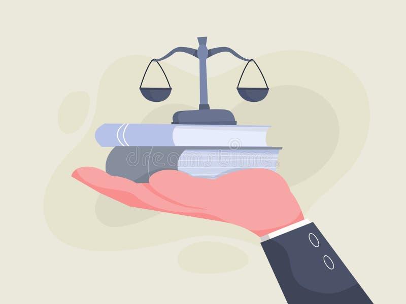 Main tenant des ?chelles et des livres Id?e de loi illustration libre de droits
