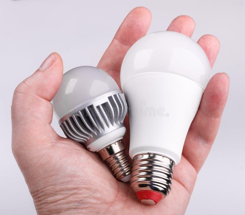 Main tenant des ampoules de LED sur le fond blanc photo stock