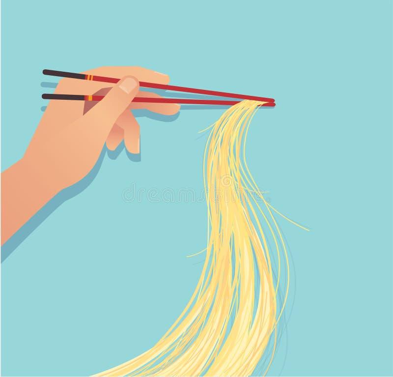 Main tenant des baguettes avec l'illustration asiatique eps10 de vecteur de nourriture de nouille illustration stock
