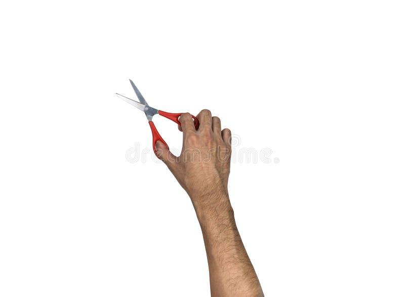 Main tenant des ciseaux faisant l'action coupée photo libre de droits