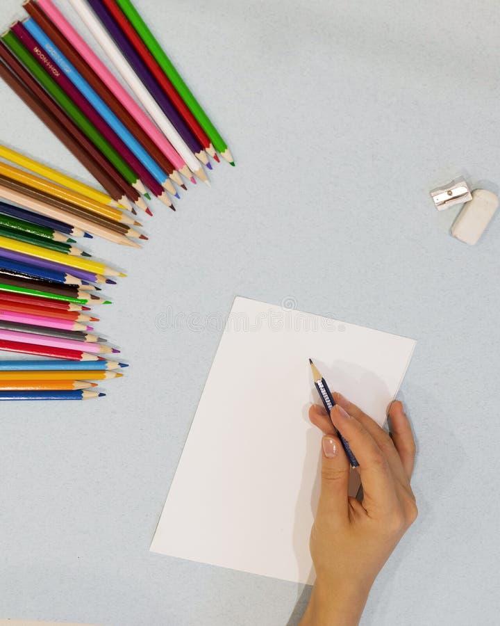 Main tenant des crayons de couleur sur le livre blanc images libres de droits