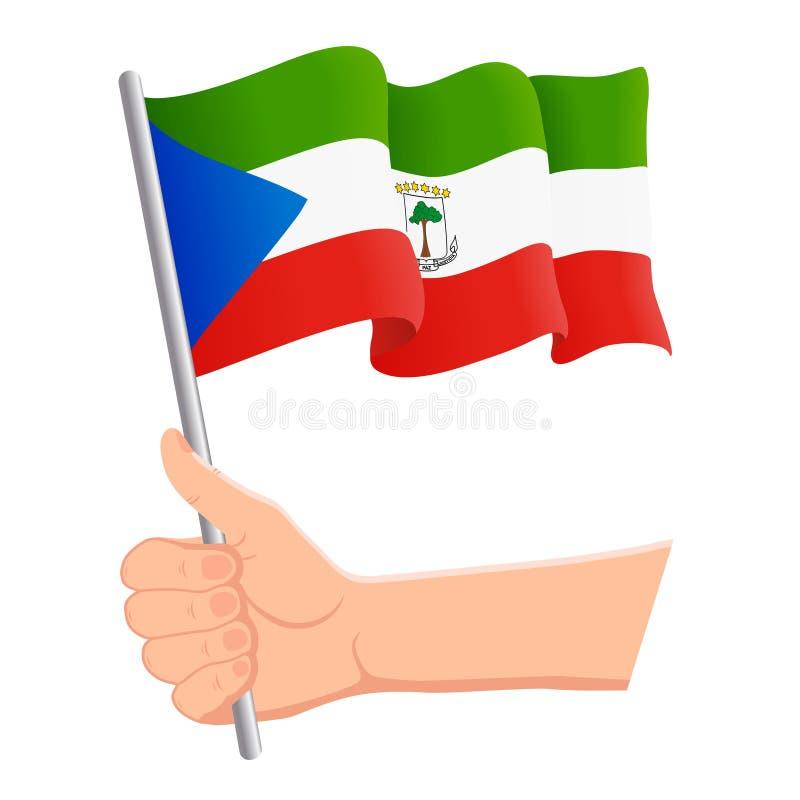 Main tenant et ondulant le drapeau national de la Guin?e ?quatoriale r Vecteur illustration libre de droits