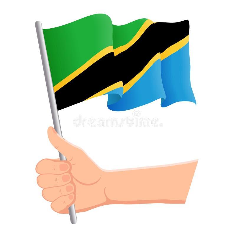 Main tenant et ondulant le drapeau national de la Tanzanie r Illustration de vecteur illustration de vecteur