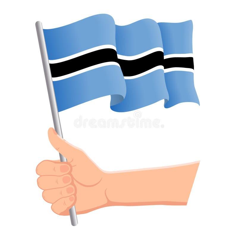 Main tenant et ondulant le drapeau national du Botswana r Illustration de vecteur illustration de vecteur