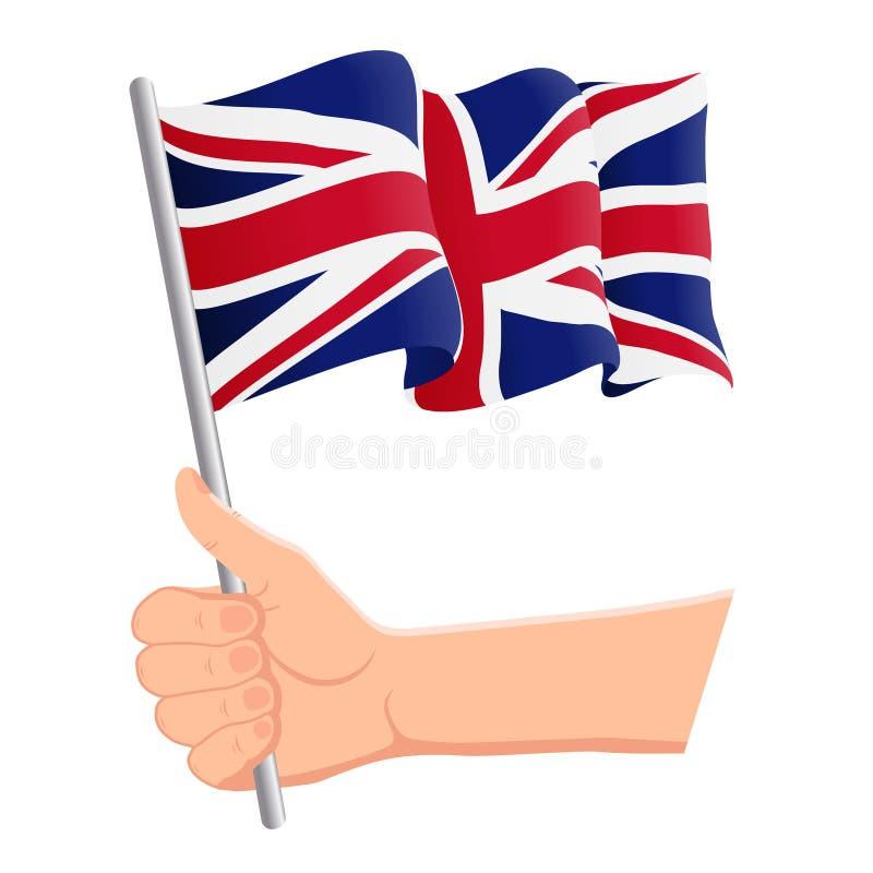 Main tenant et ondulant le drapeau national du Royaume-Uni r Vecteur illustration stock