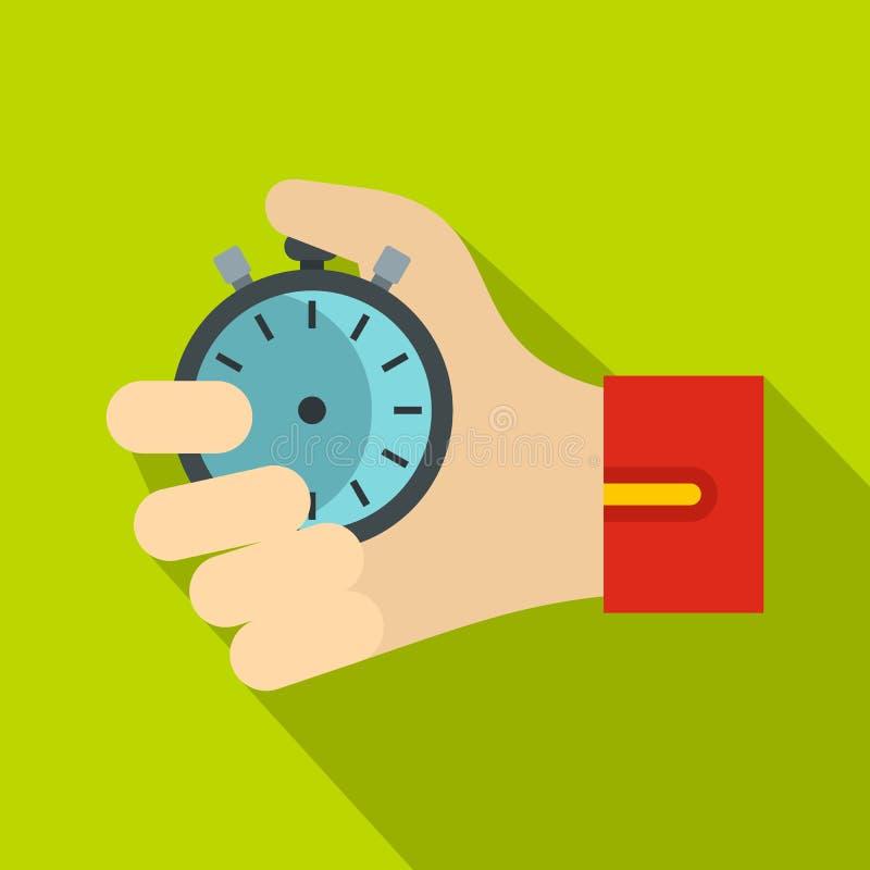 Main tenant l'icône de chronomètre, style plat illustration libre de droits