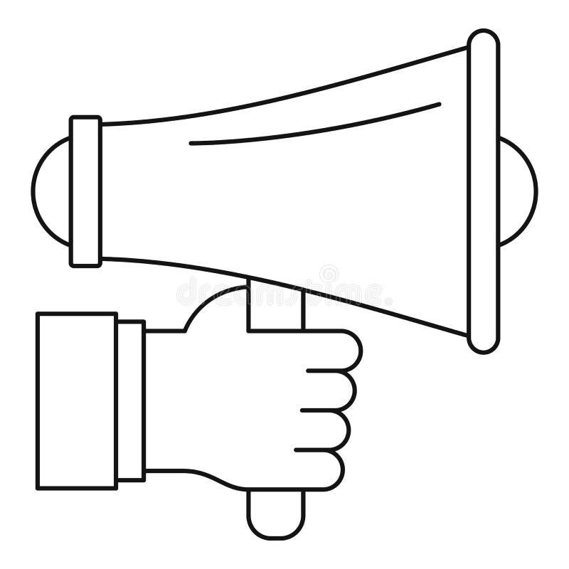 Main tenant l'icône de haut-parleur, style d'ensemble illustration stock