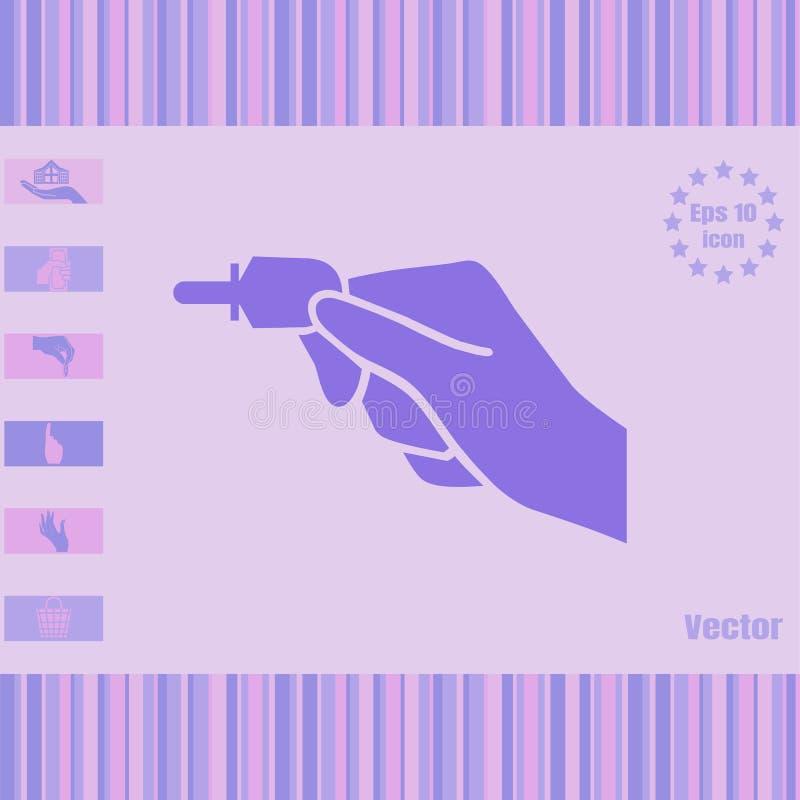 Main tenant l'icône principale électronique américaine de vecteur image stock