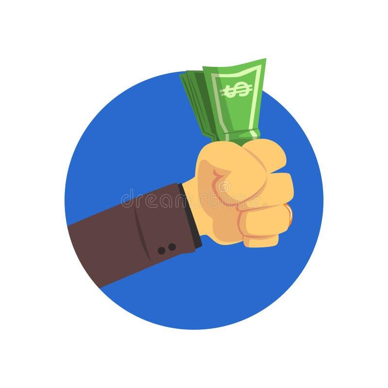 Main tenant l'illustration de vecteur de bande dessinée de factures d'argent illustration stock