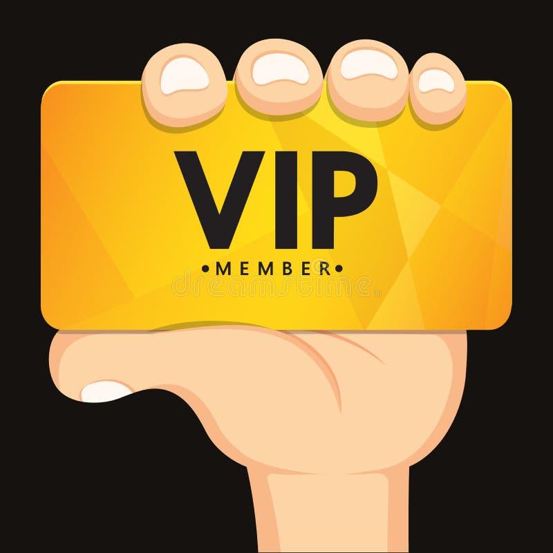 Main tenant la carte de VIP illustration de vecteur