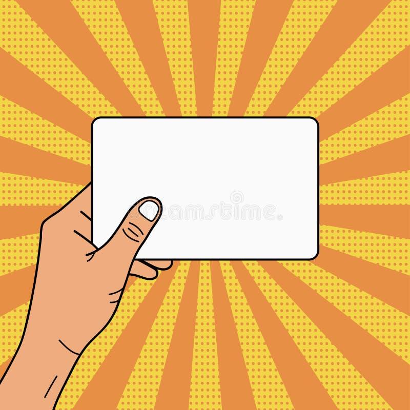 Main tenant la carte vide pour votre texte et publicité Illustration d'art de bruit dedans dans le rétro style comique avec l'ima illustration de vecteur