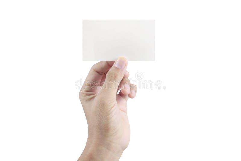 Main tenant la carte virtuelle avec le votre images stock