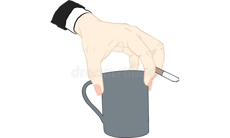 Main tenant la cigarette illustration de vecteur