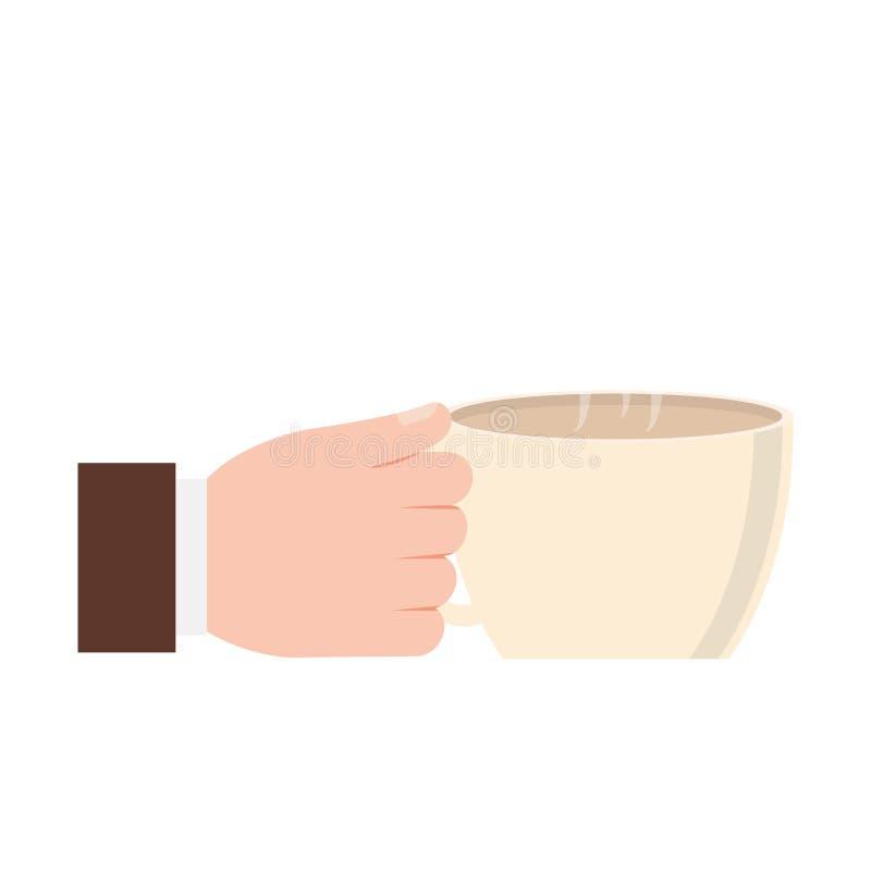 main tenant la fête des pères de café de tasse illustration de vecteur