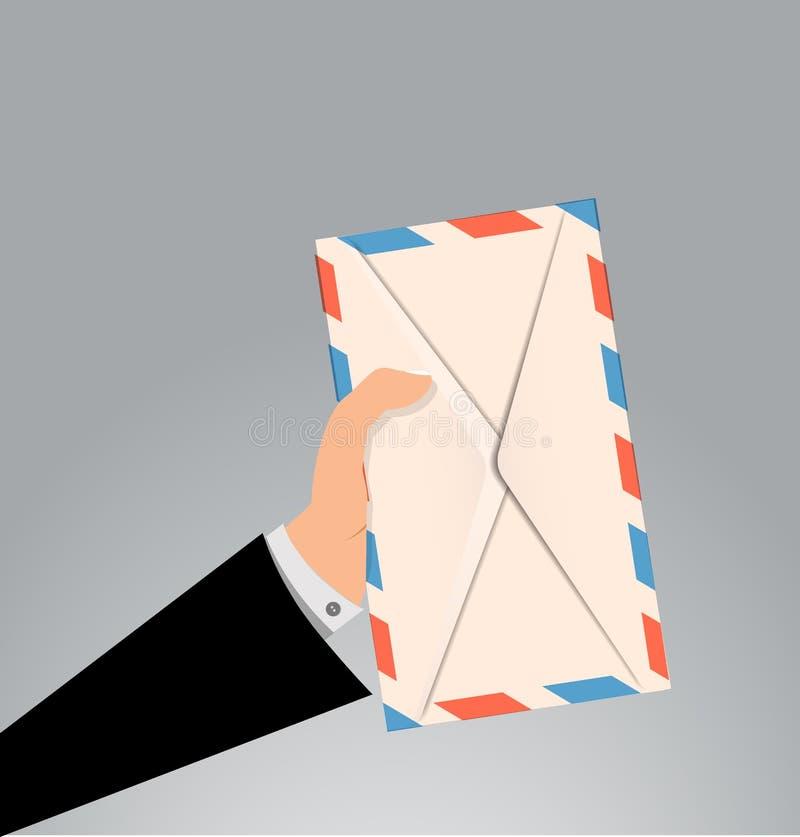 Main tenant la lettre d'enveloppe illustration libre de droits