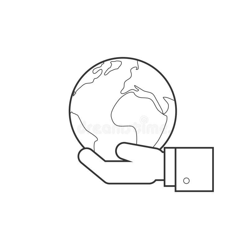 Main tenant la ligne icône de globe illustration libre de droits
