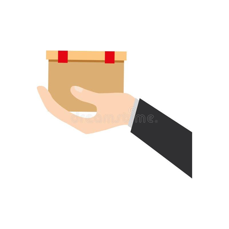 main tenant la livraison de boîte en carton illustration libre de droits