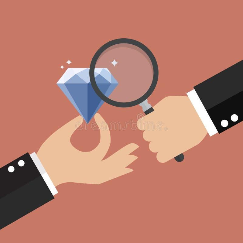Main tenant la loupe avec le diamant illustration libre de droits