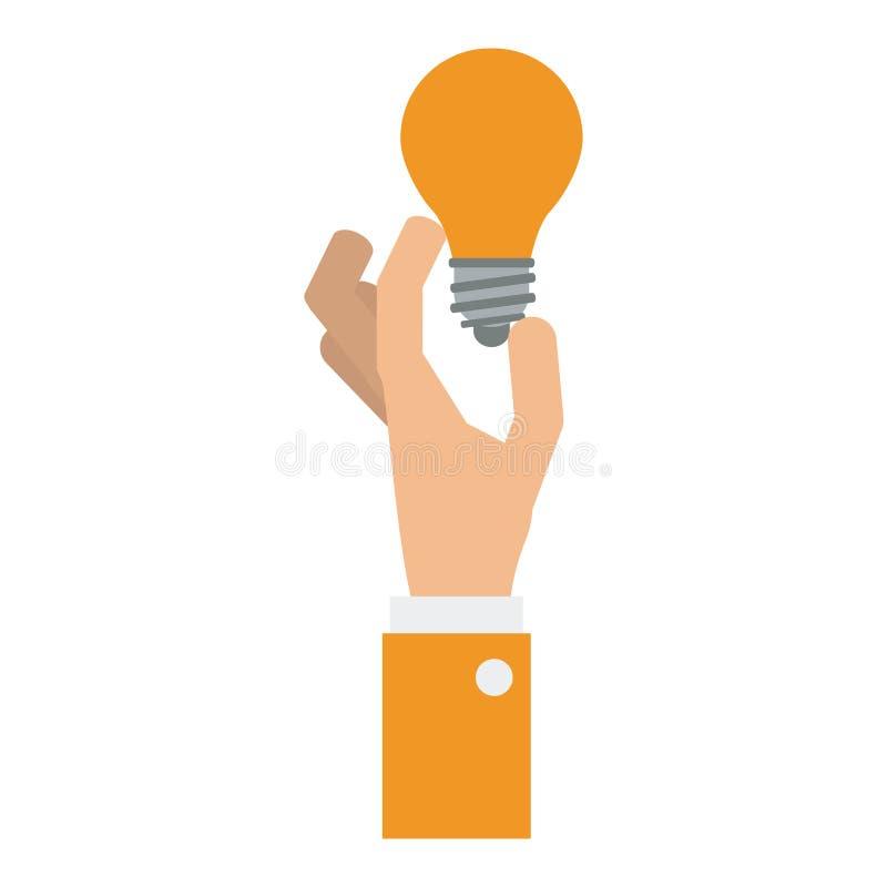 Main tenant la lumière d'ampoule illustration stock