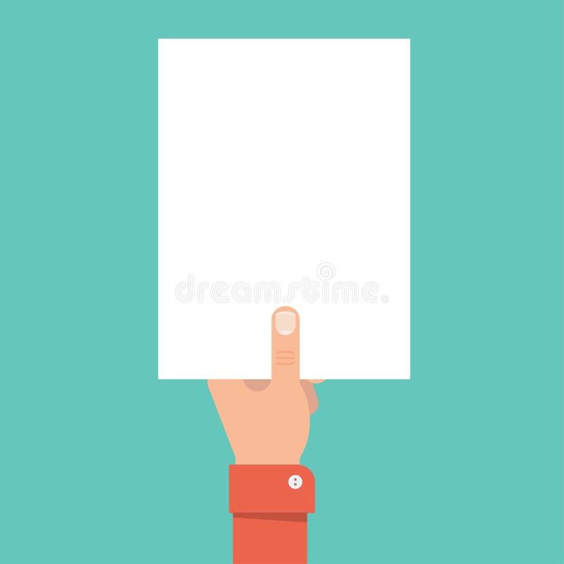 Main tenant la page du papier blanche illustration de vecteur