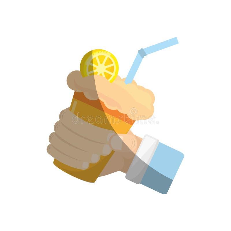 main tenant la paille de jus d'orange de lait de poule illustration libre de droits
