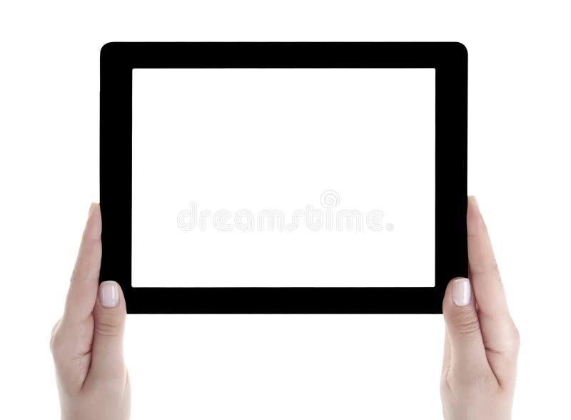 Main tenant la Tablette de Digital d'écran vide photographie stock libre de droits
