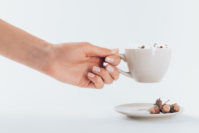 Main tenant la tasse de cacao image libre de droits
