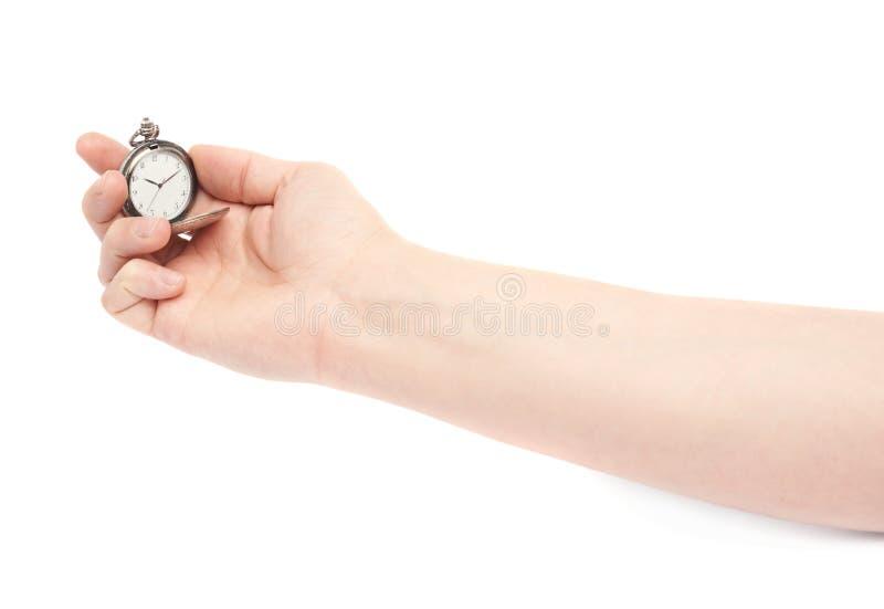Main tenant la vieille montre de poche photos libres de droits