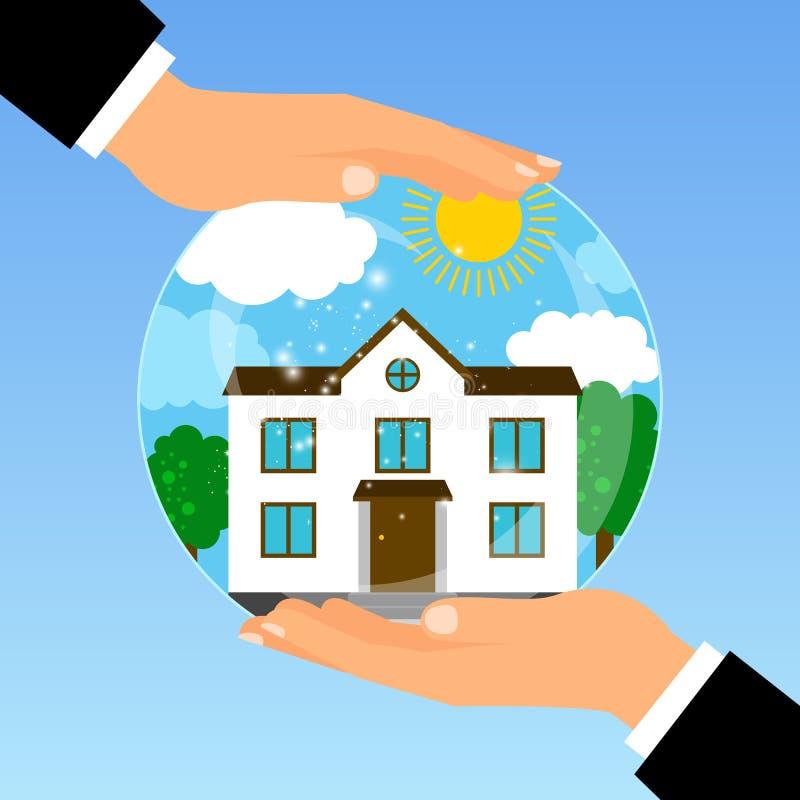 Main tenant le bol en verre avec la maison illustration stock