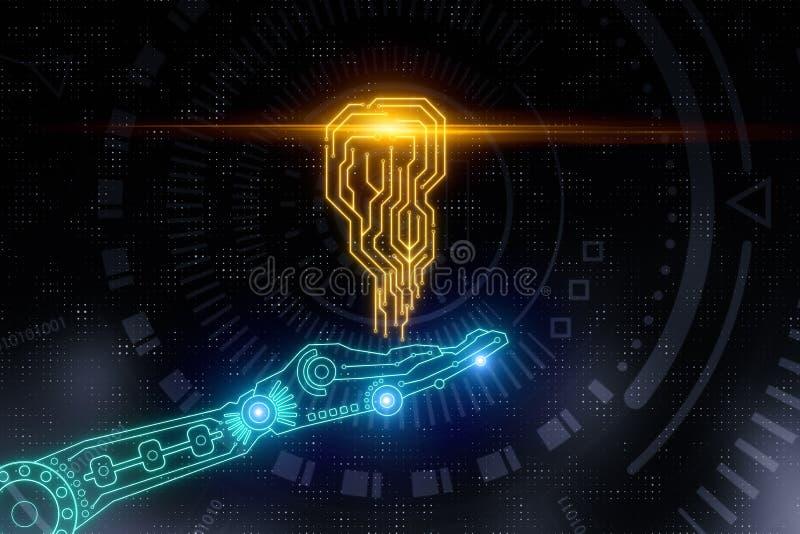 Main tenant le circuit d'AI illustration de vecteur