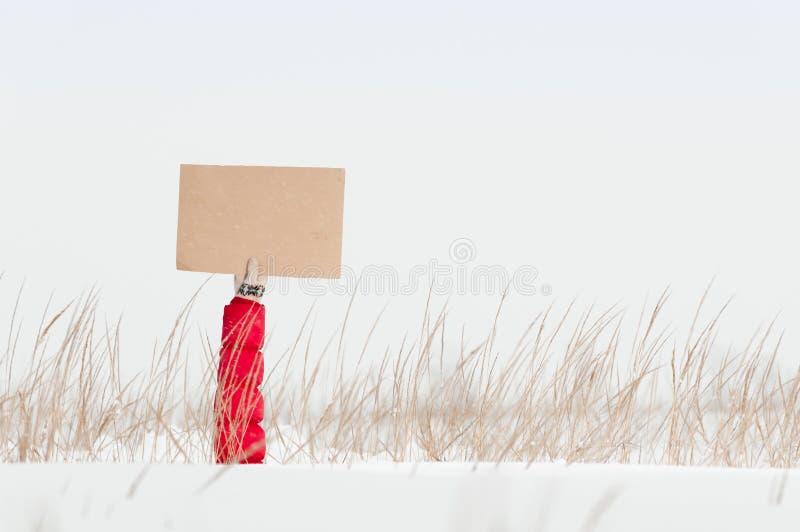 Main tenant le conseil vide dans le domaine d'hiver. photographie stock