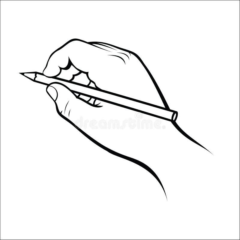 Main tenant le crayon illustration libre de droits